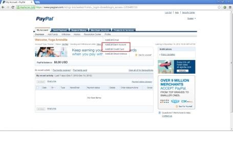tampilan awal dan menu PayPal
