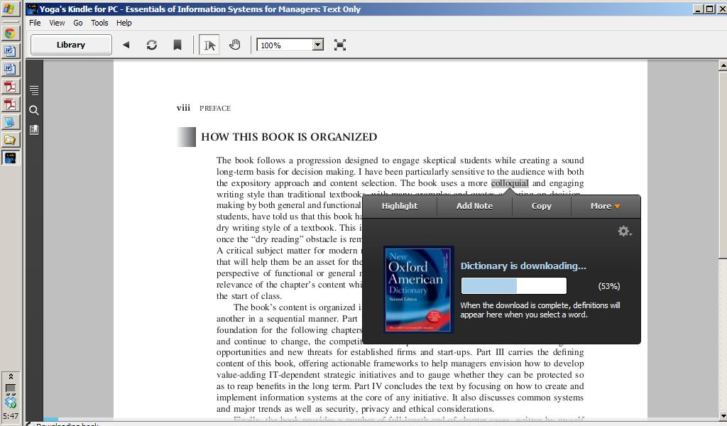 tampilan Kindle for PC yang user friendly