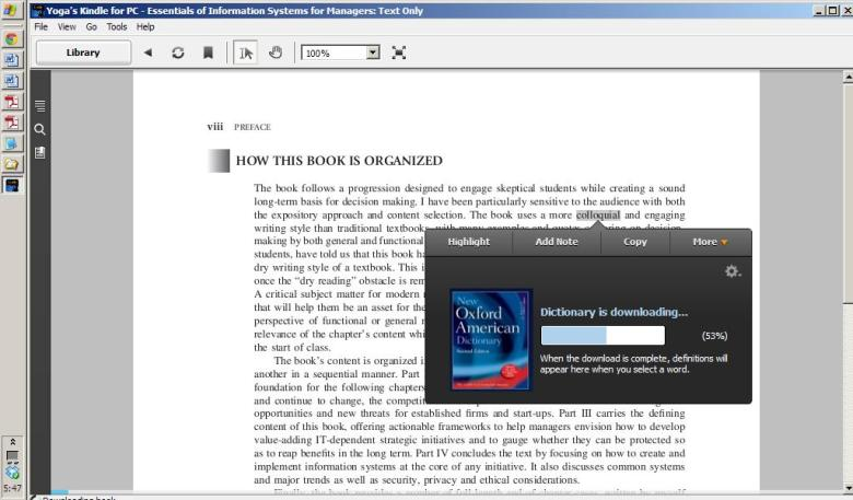 tampilan Kindle for PC yang user friendly