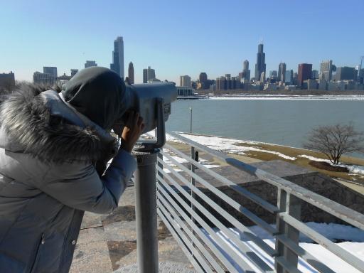 bisa ngintip bangunan tinggi di downtown Chicago