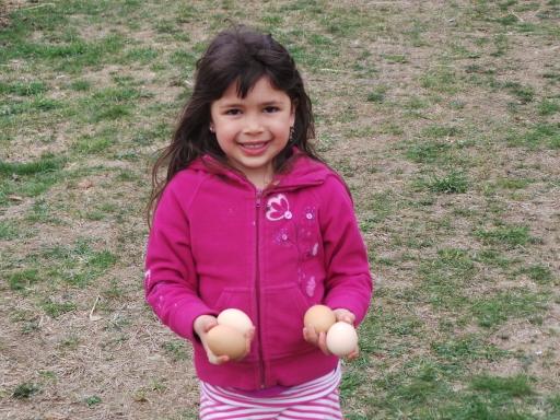 Fatima bangga menunjukkan telur yang ia temukan hari ini