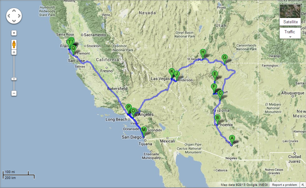 peta perjalanan ke West Coast