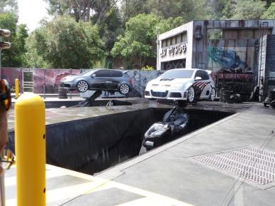 set untuk adegan mobil terbakar