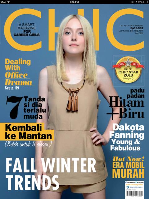 CHIC terbaru dengan cover Dakota Fanning